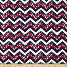 Made in the USA Chevron & Stars Red, White, Blue from @fabricdotcom  This cotton print fabric is made in the USA and perfect for quilting, apparel and home decor accents. Colors include red, white and blue.