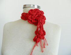 Crochet lariat scarf handmade crochet flower by Ozlempunchneedle, $12.00