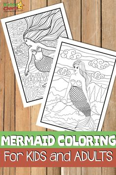 We have some gorgeous mermaid coloring pages for you today, both for adults and kids. We hope you love them; do check them out. Mermaid Coloring Pages, Coloring For Kids, Printable Coloring, Coloring Pages For Kids, Coloring Books, Summer Activities For Kids, Creative Activities, Book Activities, Mermaid Kids
