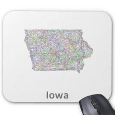 Iowa map mouse pad $12.10 *** Colorful line art design map of Iowa state. - mouse pad