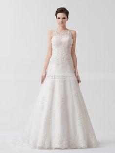 Alaina - ärmelloses Prinzessin Spitze Hochzeitskleid mit Applikationen