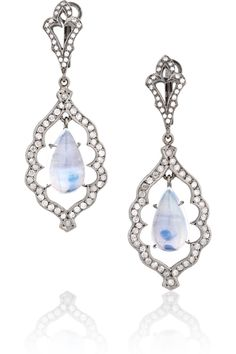 LOREE RODKIN Open Leaf 18-karat rhodium white gold and diamond drop earrings 14,375 USD
