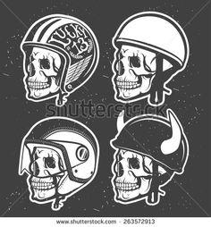 Motorcycle Themed handmade drawing helmets with skull. Helmets set. - stock vector