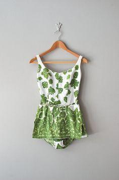 c648983df1 1960s Moss Medallion cotton pique swimsuit