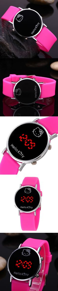 Hello Kitty Cartoon Watches Women Digital Wristwatches for Girls Kids Children LED Silicone Watches Christmas Gift Relojes $2.85