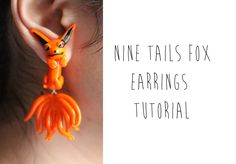 Kyuubi Kurama or Nine-Tailed Fox Earrings (Naruto Anime) Polymer Clay Tu...