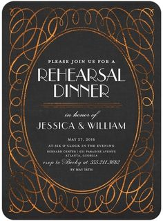 Sensational Scrolls - Signature White Rehearsal Dinner Invitations - Magnolia Press - Charcoal - Gray : Front