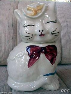 I have my Grandma's cookie jar, we called her Maisy the Cat, found salt shakers and a cream pitcher...hunting the sugar bowl.... she is cracked but is so special to me..