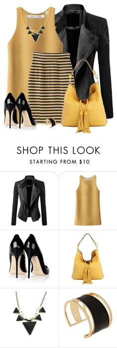 """Black and Gold"" by daiscat ❤ liked on Polyvore featuring Doublju, Uniqlo, Burberry, Jimmy Choo, Marni and Rachel Zoe"