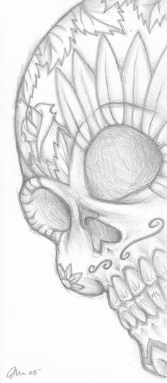 DeviantArt is the world's largest online social community for artists and art enthusiasts, allowing people to connect through the creation and sharing of art. drawing Dio de los Muertos Sugar Skull by iheartbooze on DeviantArt Dark Art Drawings, Art Drawings Sketches Simple, Pencil Art Drawings, Cute Drawings, Drawing Art, Sugar Skull Drawings, Simple Skull Drawing, Easy Skull Drawings, Quick Easy Drawings