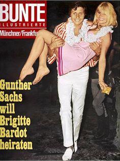 Brigitte Bardot with third husband Gunter Sachs on their honeymoon in Acapulco, 1966.
