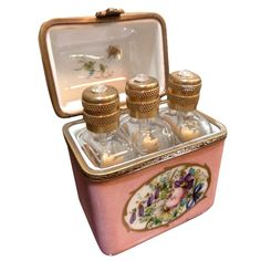 Early 1900s French gold-painted glass perfume bottles in Limoges box