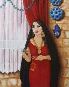 "A painting for Iraqi painter Yusur Al-Qazwini entitled ""Istikan Tea"""