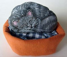 Painting Rock & Stone Animals, Nativity Sets & More: Rock Painting Ideas: Cats
