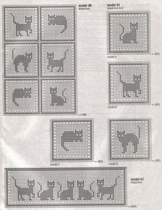 crochet catitude! - filet crochet blocks - perfect for a baby blanket and the matching curtains! #Cats