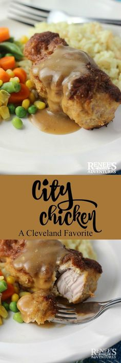 City Chicken | Renee's Kitchen Adventures - easy comfort food of the Midwest made with pork sirloin cubes and baked in the oven for dinner or lunch.