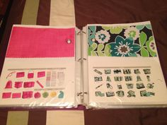 Thirty One swatch book from a binder I made! so much easier than flipping through those loose swatches! : ) not hard to make at all!