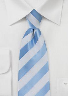 lange Krawatte gestreift himmelblau perlweiß