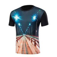 3D Highway Print Short Sleeve T-Shirt