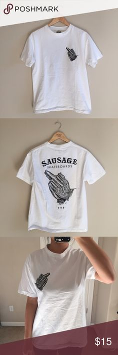 """Mens Sausage Logo Tee Shirt  Sausage Logo Tee shirt that has larger design on the back  I am 5'7, 115lbs, 34DD, and have a 27"""" waist  Offers are welcome within reason  All items are washed before being sent out  Prices reflect the condition, quality, and authenticity  I always try to mail out items the next day  Condition: Worn once, no damages PacSun Shirts Tees - Short Sleeve"""