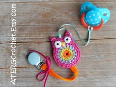 COLORFUL OWL PACIFIER CLIP HOLDER (pacifier not included!)    This cute colorful dummy clip holder is made with satin- and velvet ribbon attached to