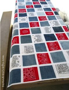 Have an old pair of jeans and some bandannas? Turn them into a patchwork quilt-inspired tablecloth—no sewing skills necessary!– with this how-to. You are in the right place about patchwork quilting ch Bandana Quilt, Bandana Blanket, Patchwork Quilting, Rag Quilt, Quilt Blocks, Patch Quilt, Quilt Top, Jean Crafts, Denim Crafts