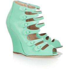 Oscar de la Renta Dakota leather wedge sandals (£290) ❤ liked on Polyvore featuring shoes, sandals, aqua shoes, strappy leather sandals, leather shoes, narrow sandals and wedge shoes