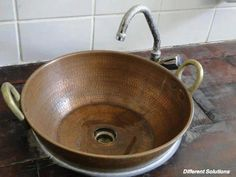 Old Wash Tub or Wok, converted into wash basin