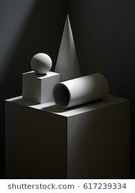 render sculptural primitive shapes still life simple art blocks cone ball cylinder cube classical art dramatic light and shadow Still Life Drawing, Still Life Art, Still Life Photos, Shading Techniques, Art Techniques, Still Life Photography, Fine Art Photography, Shadow Drawing, Light Study