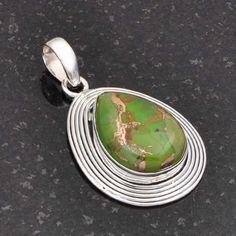 GREEN COPPER TURQUOISE 925 STERLING SILVER DESIGNER PENDANT 8.49g DJP5834 #Handmade #Pendant