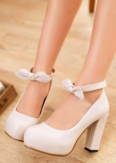 Cute Bow knot Chunky Heel Pumps