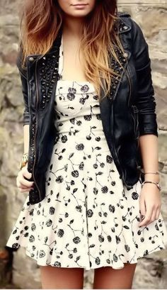 Studded Moto Jacket & Floral Chiffon Dress <3