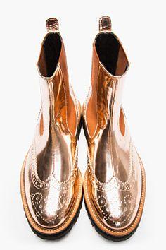 JUUN.J Copper Patent Leather Chelsea Wingtip Brogue Boots
