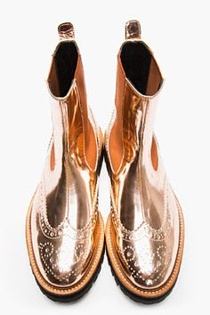 JUUN.J Copper Patent Leather Chelsea Wingtip Brogue Boots for men | SSENSE