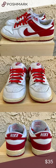Nike Dunk white/red size 11 White/Red Nike Dunk size 11 worn but still in great condition Nike Shoes