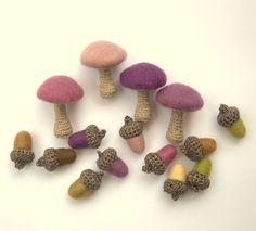 12 Acorns felted olive purple wool rustic Weddings by astashtoys, $24.00