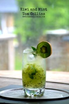 Kiwi and Mint Tom Collins: 2 oz dry gin, 1 oz simple syrup, juice of one lime, 1 whole kiwi peeled and diced, 1-2 mint leaves, club soda to top it off.