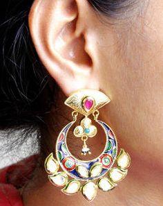 Multi Kundan Chand Bali Earrings multiMAE383e