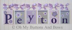 Wall Letters . Nursery Name Blocks . Nursery Decor . Baby Name Blocks . Hanging Wood Name Blocks . Bedding . Purple Lavender Gray on Etsy, $20.00