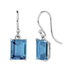 StyleRocks Blue Topaz Emerald Cut Sterling Silver Drop Earrings 3elri6Lg