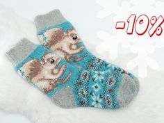 Wool Socks Knit socks for girl  Organic handcrafted by Racoonzel