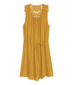 Chiffon Dress | Mustard yellow | Ladies | H&M US