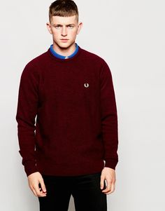 """Jumper by Fred Perry Medium-weight warm knit Textured front Crew neck Regular fit - true to size Hand wash 100% Wool Our model wears a size Medium and is 185.5cm/6'1"""" tall"""