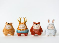 Perfect whimsical figures for a kids room. sweet bestiary