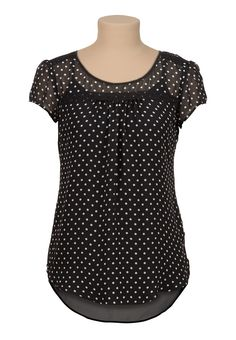 STITCH FIX. I LOVE THIS TOP high-low chiffon dot print blouse with lace