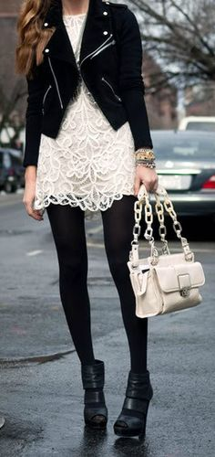 Black Leather + Cream Lace