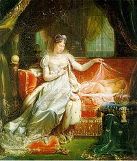Marie Louise of Austria was the second wife of Napoleon I, Emperor of the French and later Duchess of Parma.  Marie Louise dutifully agreed to the marriage despite being raised to despise France. She was an obedient wife and was adored by Napoleon, who had been eager to marry a member of one of Europe's leading royal houses to cement his relatively young Empire. She bore Napoleon a son, styled the King of Rome at birth, later Duke of Reichstaedt, who briefly succeeded him as Napoleon II.