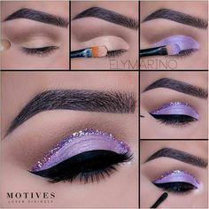 "Lilac glitter eyes History of eye makeup ""Eye care"", in other words, ""eye Glitter Eye Makeup, Purple Makeup, Colorful Eye Makeup, Makeup For Green Eyes, Pretty Makeup, Makeup Eyeshadow, Eyeshadows, Dramatic Eye Makeup, Eye Makeup Steps"