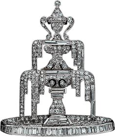 Diamond and platinum fountain brooch c 1925. French