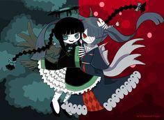 un dibujo con Funamusea estilo del ángel caido Aconita y la princesa Mikotsu